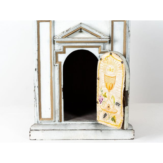 Antique French White Painted Wood Tabernacle For Sale - Image 4 of 7
