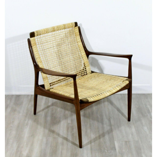 1960s Mid Century Modern Danish Kofod Larsen Cane Lounge Armchair 1960s For Sale - Image 5 of 10