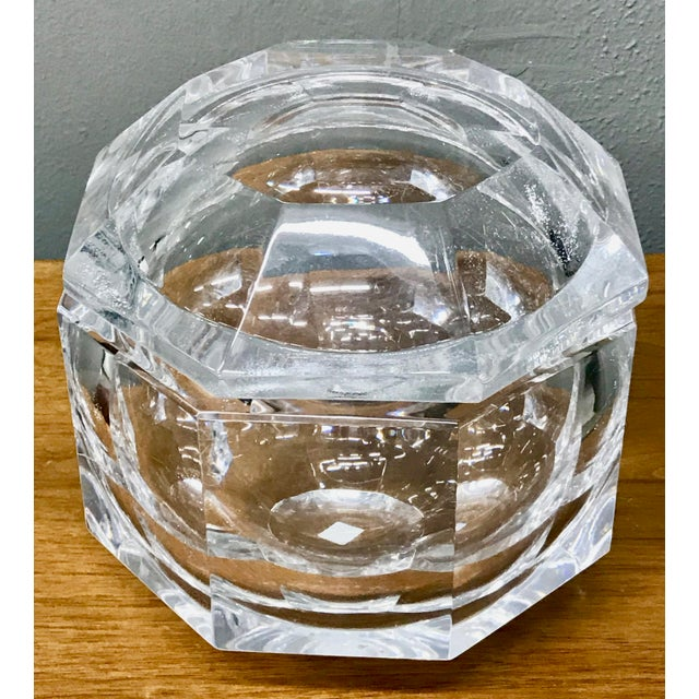 Clear faceted lucite Ice bucket with hinged swing lid for ice, candy, nuts, beautiful as display object. The possibilities...