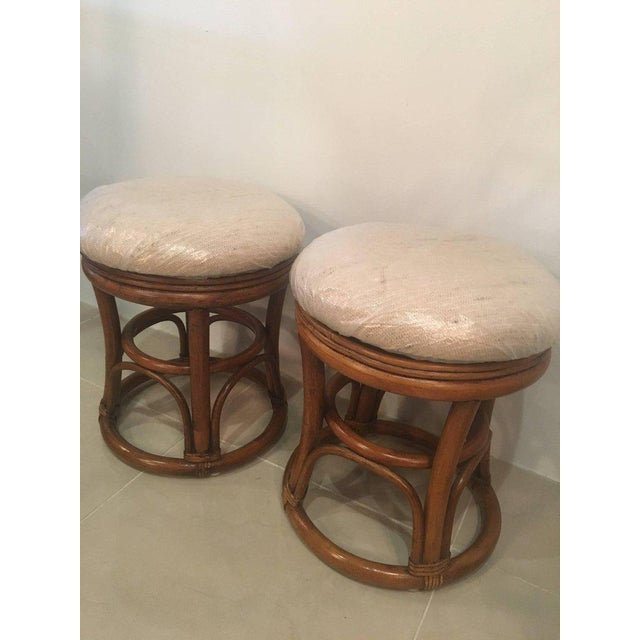 1970s Vintage Tropical Palm Beach Rattan Stools Benches - a Pair For Sale - Image 5 of 10