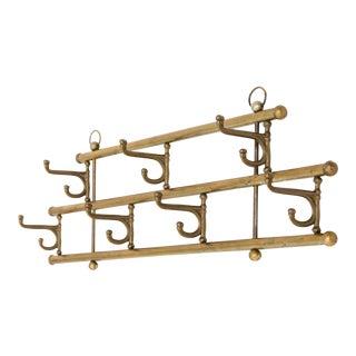 1940s Swivel Hook Vintage Brass Coat Rack For Sale