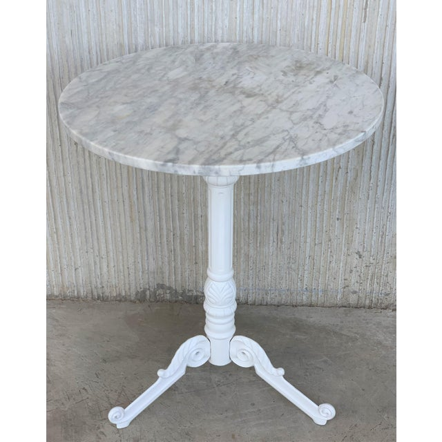 French 20th Century Round Cast Iron Base With Marble Top Garden Table or Bistro Table For Sale - Image 3 of 9