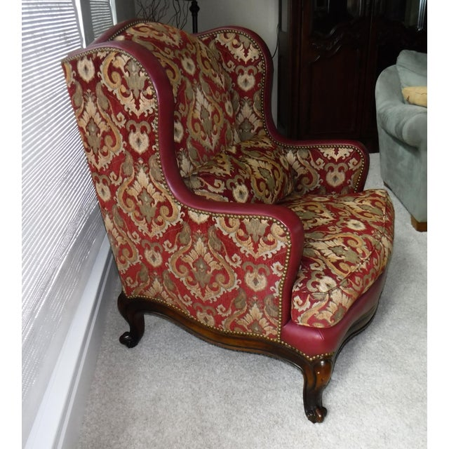 Sherrill Furniture Leather and Fabric Burgundy and Gold Sherrill Windsor Chair For Sale - Image 4 of 5
