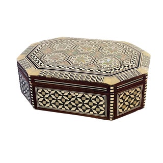 "Mosaic Middle Eastern Mother in Pearl Inlay Box 8.25"" W For Sale"