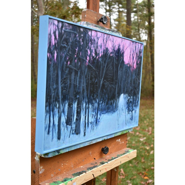 """Blue """"Snowy Intersection at Dawn"""" Contemporary Acrylic Painting by Stephen Remick, Framed For Sale - Image 8 of 12"""