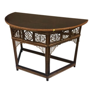18th Century Chinese Fretwork Bamboo Demi-Lune Table For Sale