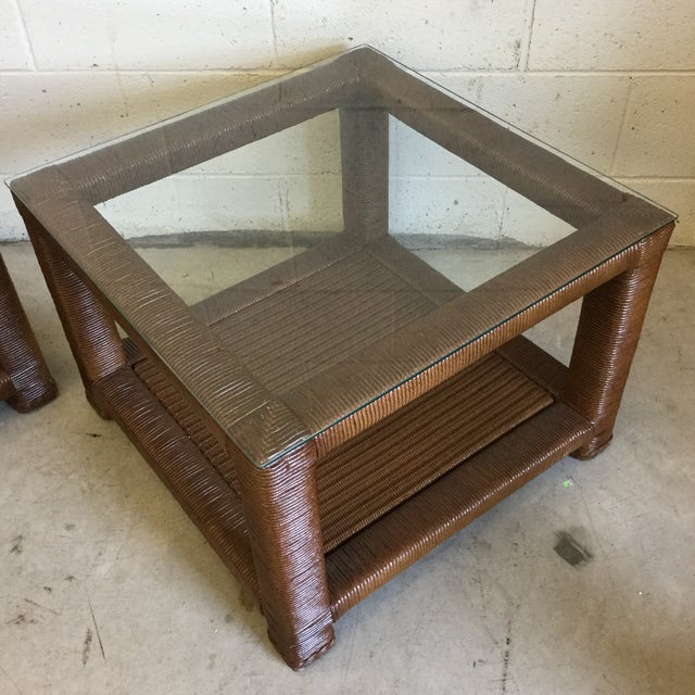 Janus Et Cie Wicker & Glass Top End Tables For Sale - Image 4 of 11