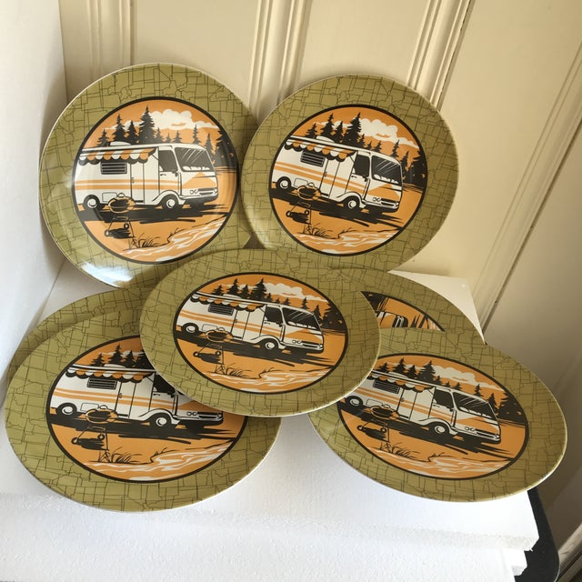 1980s Trailer Park Camping Dinner Plates, Set of Eight For Sale - Image 5 of 7