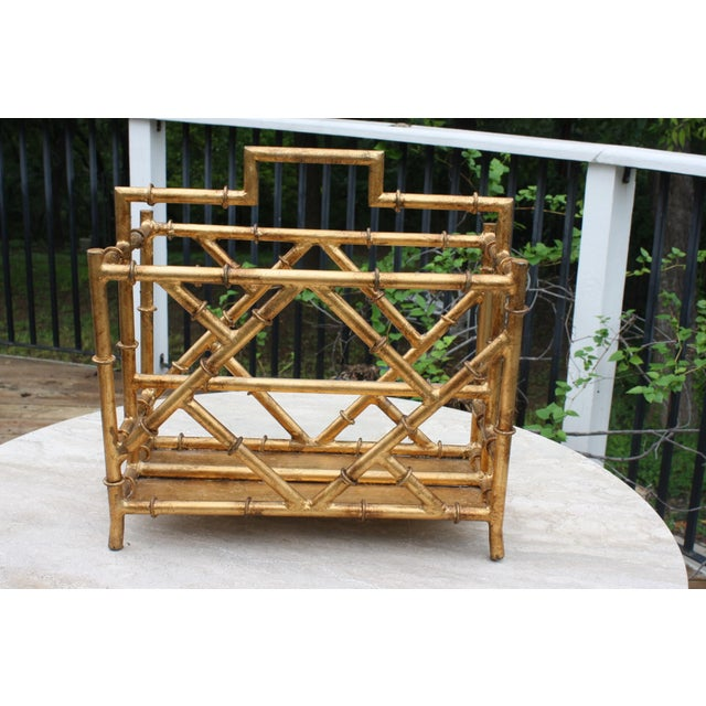 Faux Bamboo Gilt Faux Bamboo Chinoiserie Style Magazine Rack For Sale - Image 7 of 11