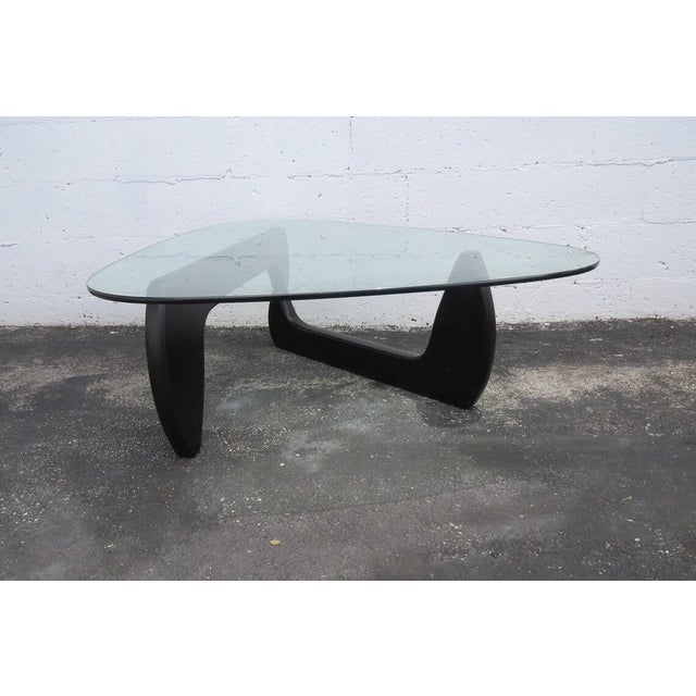 Mid Century Black Painted Base with Glass Top Guitar Pick Shape Coffee Table For Sale - Image 11 of 11