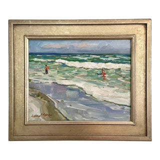 """Surf Lesson"" Seascape Oil Painting by James P. Kerr For Sale"