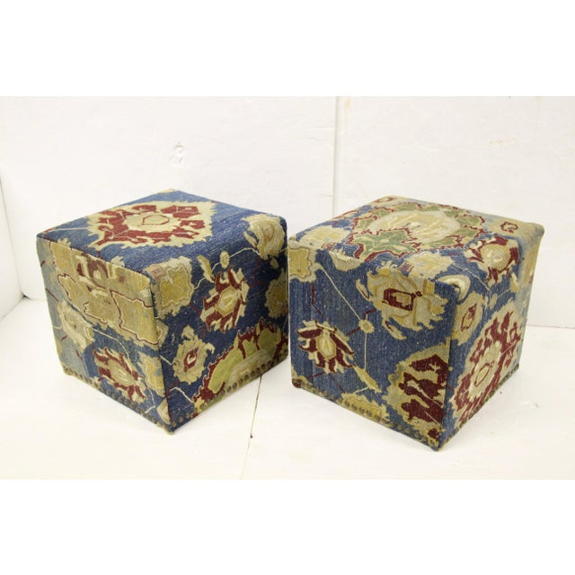 Blue Antique Persian Waterfall Stools, Pair For Sale - Image 8 of 8