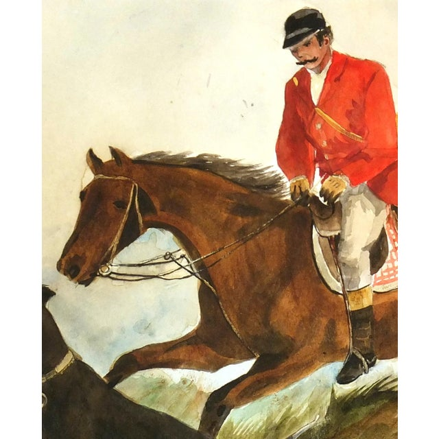 "C. 1950 Vintage Watercolor, ""The Fox Hunt"" - Image 3 of 4"