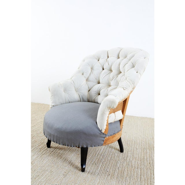 French Pair of French Napoleon III Deconstructed Slipper Chairs For Sale - Image 3 of 13