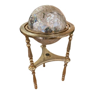 Alexander Kalifano Semi-Precious Stone & Brass Globe For Sale