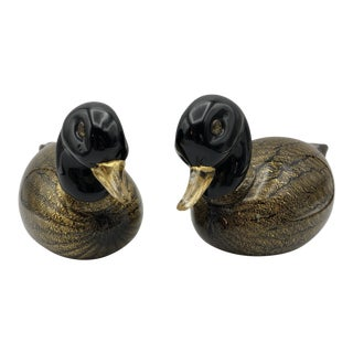 "Venini & Co Tony Zuccheri Signed ""Gabbiano"" Hand Blown Gold Cased Duck Figurines - a Pair For Sale"