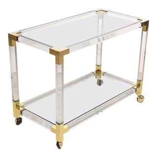 French Drinks Cart Trolley or Bar Cart of Lucite, Brass and Glass For Sale