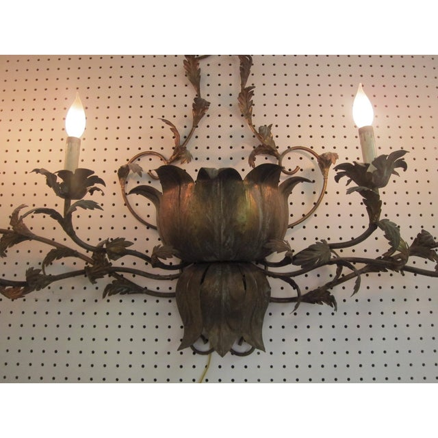 Large Brass Italian Gilded Lotus Wall Sconce - Image 4 of 6