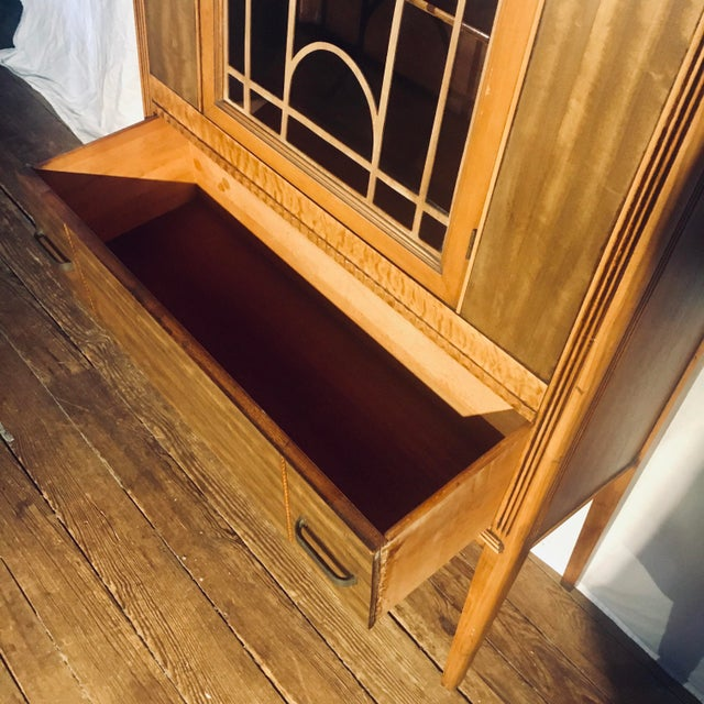 """Brown Art Deco Exotic Woods 35"""" China Cabinet/Bookcase For Sale - Image 8 of 13"""