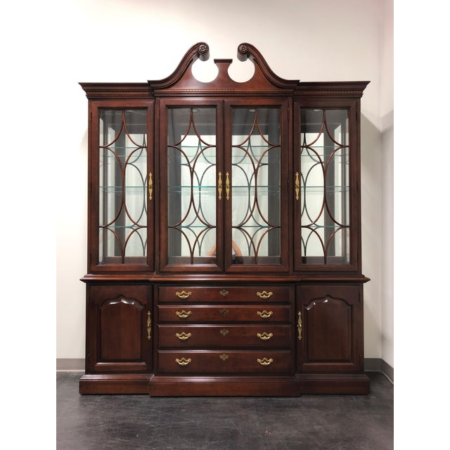 Thomasville Collector's Cherry Monumental Breakfront China Display Cabinet For Sale - Image 12 of 13