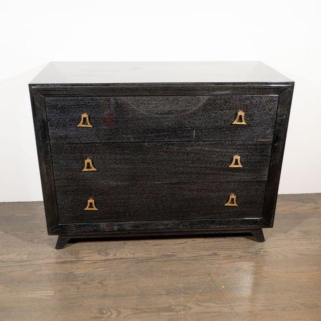Mid-Century Modern Pair of Mid-Century Modern Silver Cerused Chests With Stylized Brass Pulls For Sale - Image 3 of 10