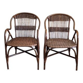 1920s Wicker Rattan Chairs - a Pair For Sale