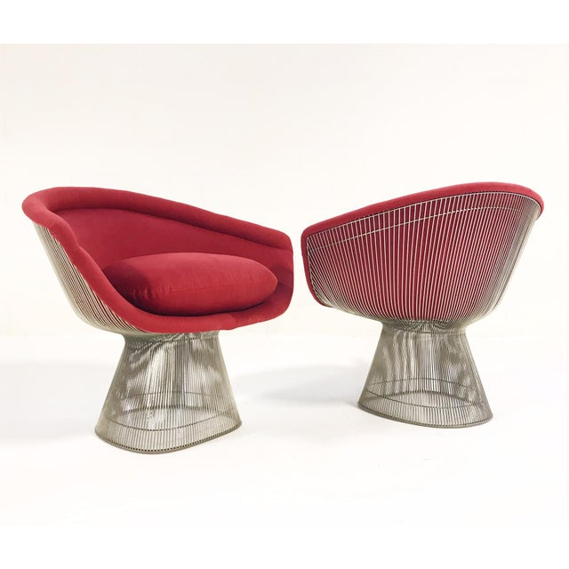 Warren Platner for Knoll Lounge Chairs Restored in Loro Piana Red Cashmere - Pair For Sale - Image 13 of 13