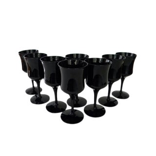 1970s Celebrity Ebony Black Crystal Wine Glasses - Set of 8 For Sale