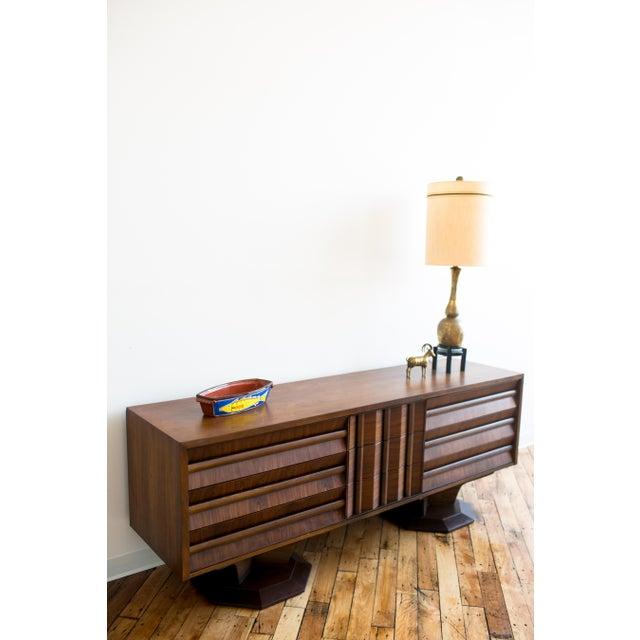 Brutalist Mid-Century Walnut Credenza Dresser - Image 5 of 7