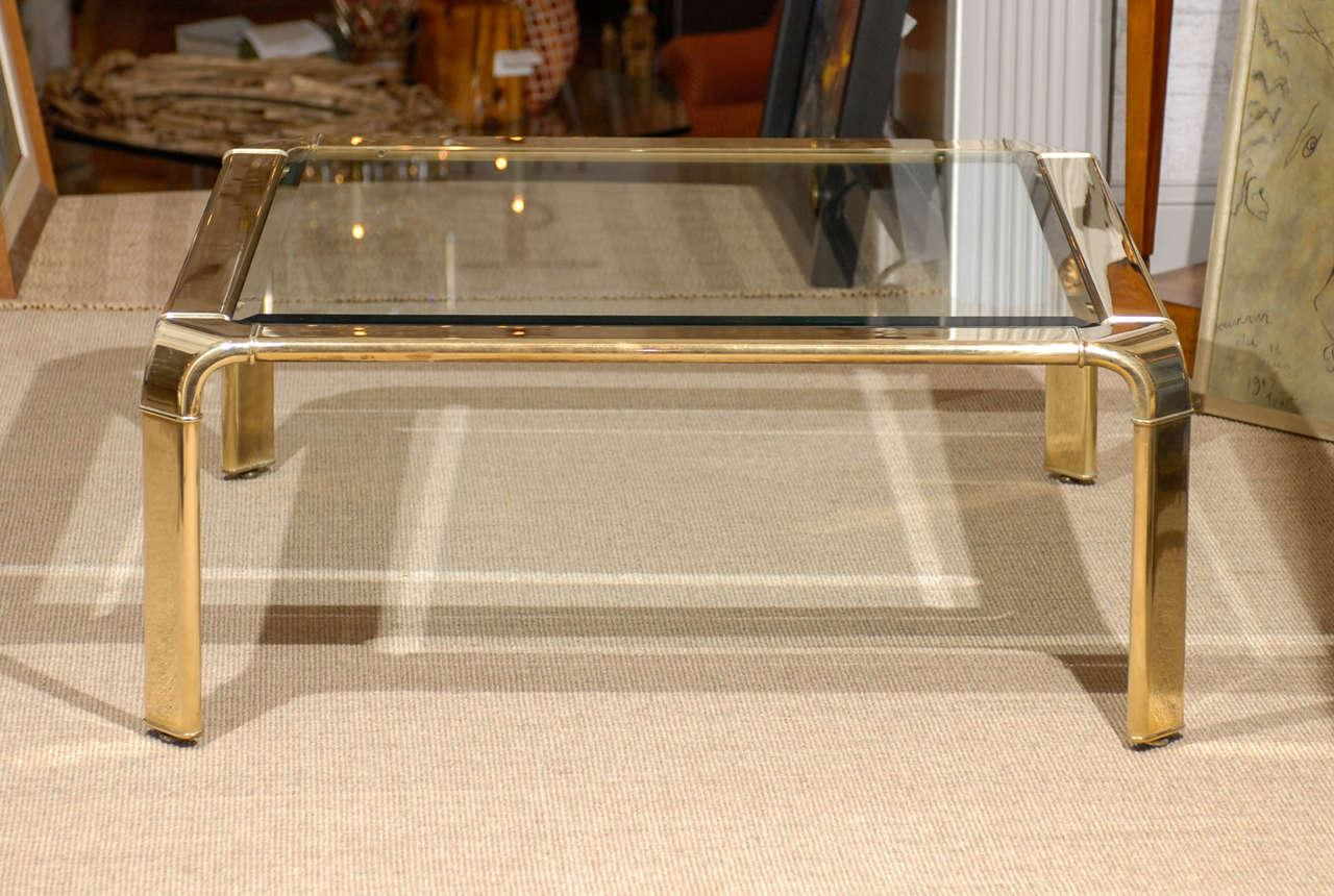 Wonderful Brass And Glass Coffee Table With A Waterfall Detail To The  Corners. Produced By
