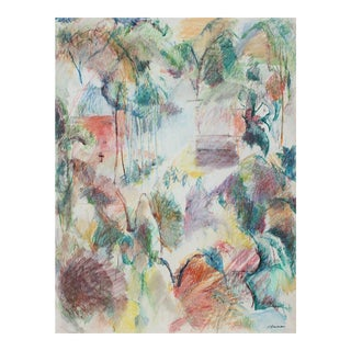Jack Freeman Colorful Abstracted Landscape in Pastel, 1980 For Sale
