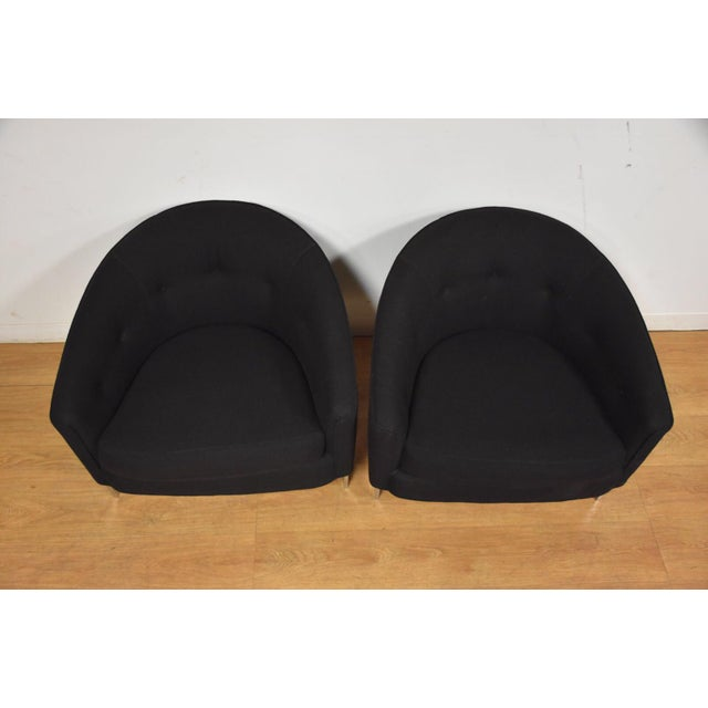 Black & Chrome Barrel Back Lounge Chairs- a Pair For Sale In Boston - Image 6 of 11