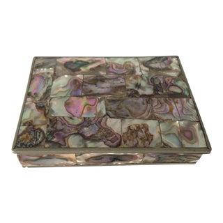 Vintage Silverplated Abalone Box For Sale