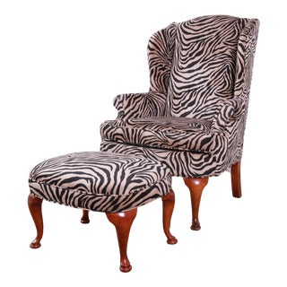 Queen Anne Style Wingback Lounge Chair and Ottoman in Zebra Print Upholstery For Sale