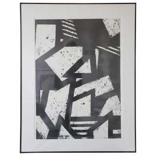 Mid-Century Modern Black and White Geometric Gordon Newton Original Art, 1970s For Sale
