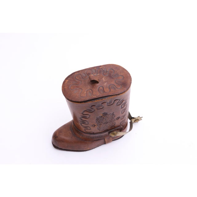 Genuine Leather Cowboy Boot Cigar / Tobacco Canister For Sale - Image 4 of 7