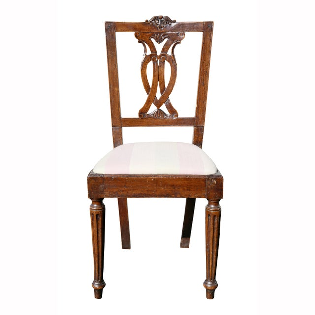 Neoclassical Set of Four Italian Neoclassic Walnut Side Chairs For Sale - Image 3 of 9