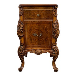 Vintage Carved Burl Walnut French Country Style Nightstand / Bedside Cabinet For Sale