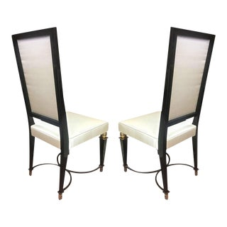J.M.Rothchild Chicest Pair of High Back Chairs With Iron and Bronze Detail For Sale