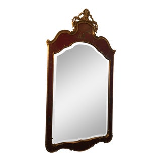 Hand-Painted Red & Gold Chinoiserie Framed Beveled Mirror For Sale
