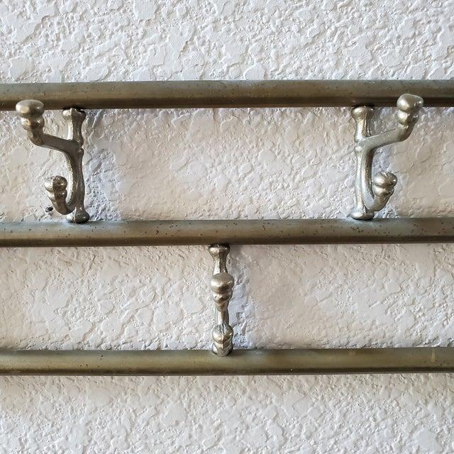 Vintage Brass Swing Hook Coat Rack For Sale - Image 4 of 7