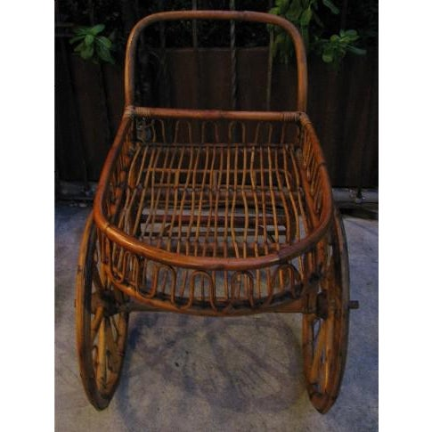 French French Riviera Rattan Bar Cart From the 1950s For Sale - Image 3 of 8