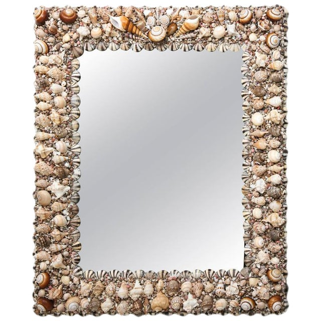 Hollywood Regency Shell Encrusted Wall Mirror For Sale