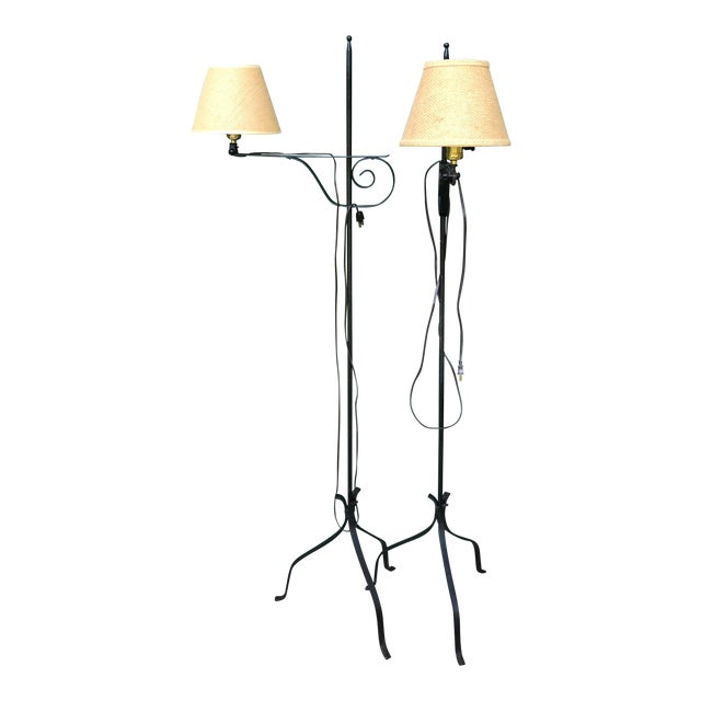 Antique Adjustable Wrought Iron Floor Lamps A Pair