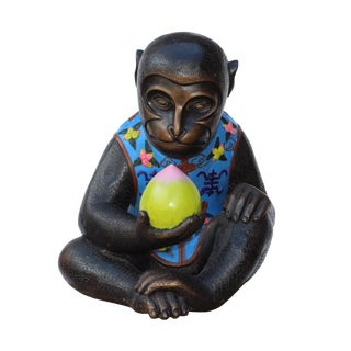 Handmade Brown Bronze Metal Ape Monkey With Peach Figure For Sale