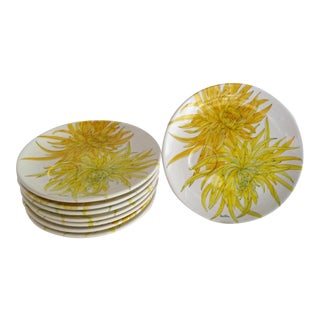 1950s Italian Modern Ernestine Ceramics Chrysanthemum Luncheon/ Snack Plates, Salerno, Italy - Set of 8 For Sale