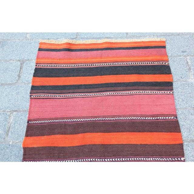 Turkish Floor Orange Stripe Kilim Rug - 4' x 2' 7'' - Image 2 of 11