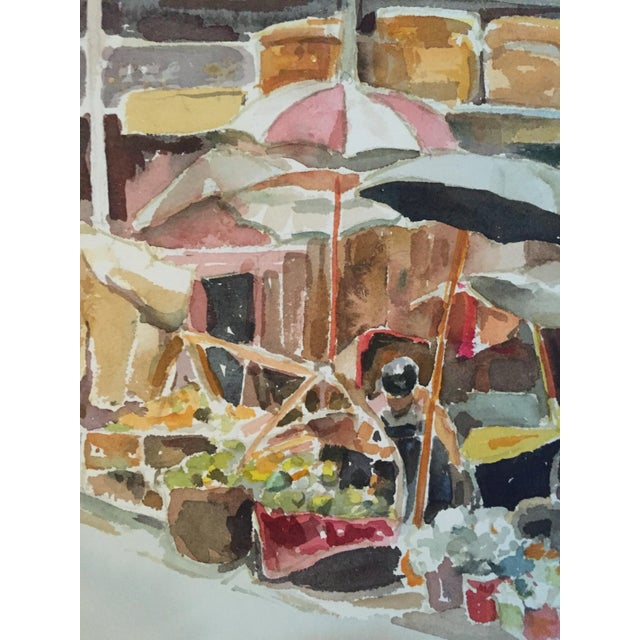 A Mid-Century Modern, 1960's gouache painting of a farmer's market scene. This unsigned piece was acquired as a part of a...