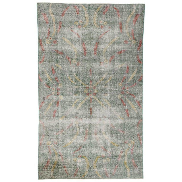 Distressed Vintage Turkish Sivas Rug with Art Deco Style For Sale - Image 5 of 5