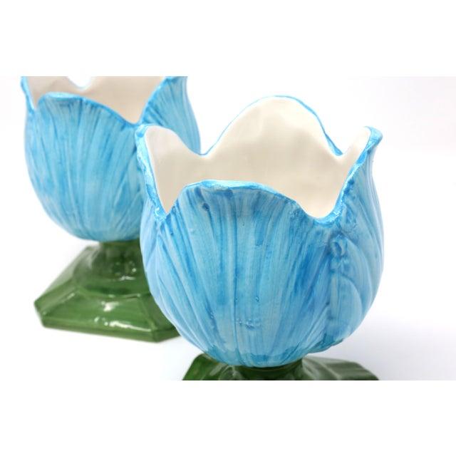 Ceramic Blue Tulip Planters - a Pair - Image 6 of 10